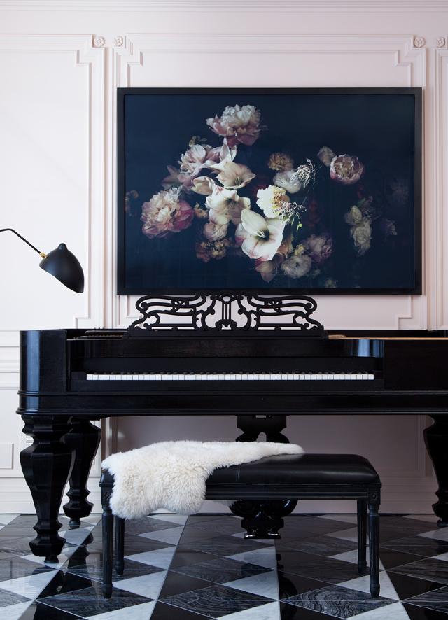artwork over the piano + pink walls via Anne Sage
