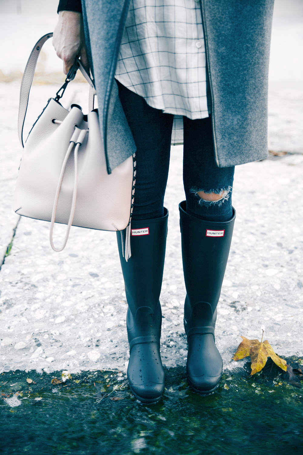 winter layers + bucket bag via Anne Sage