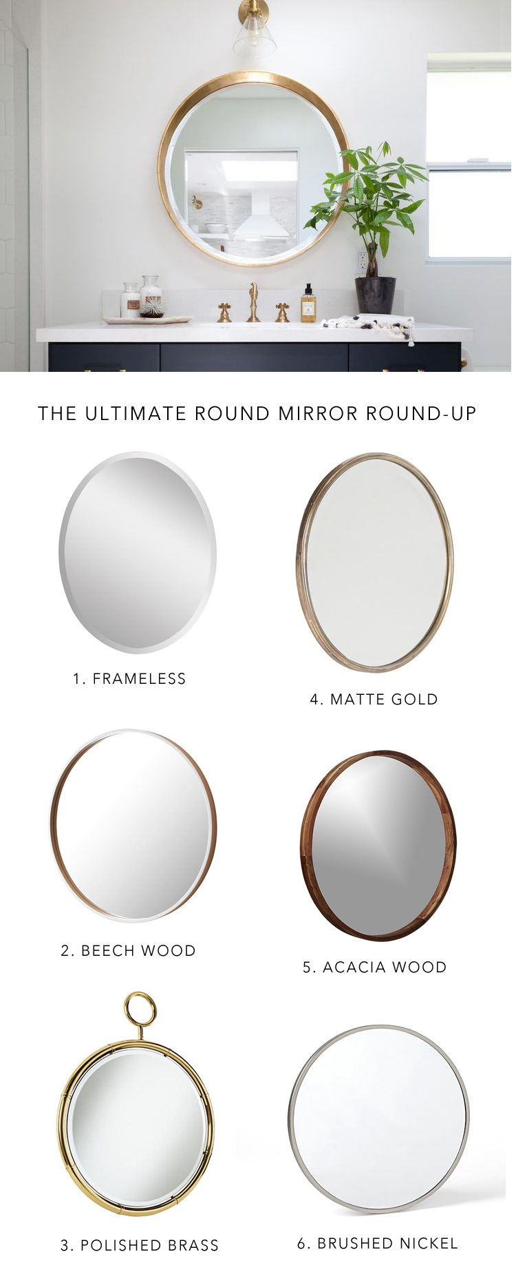 instantly update your bathroom decor for 2016 with a round bathroom mirror || @citysage
