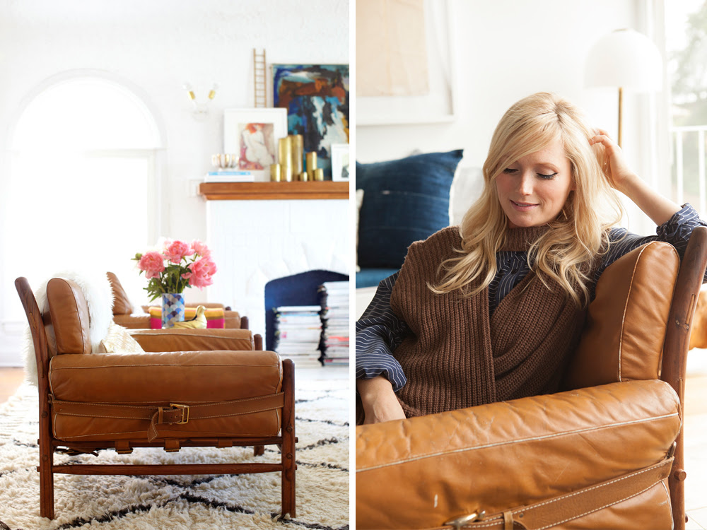 emily henderson's retro leather chairs