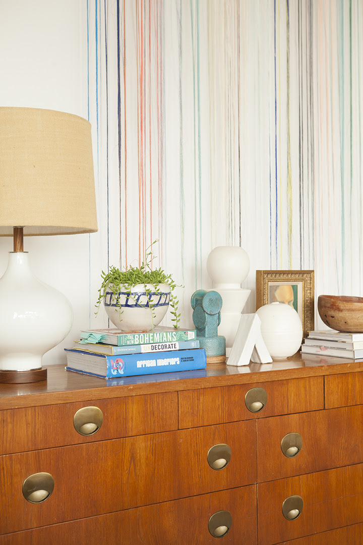 midcentury console styling by emily henderson