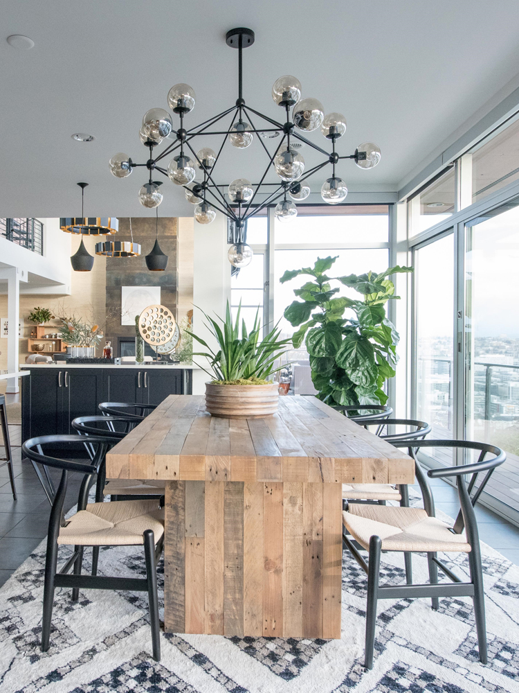 reclaimed wood table and wishbone chairs dining room via @citysage