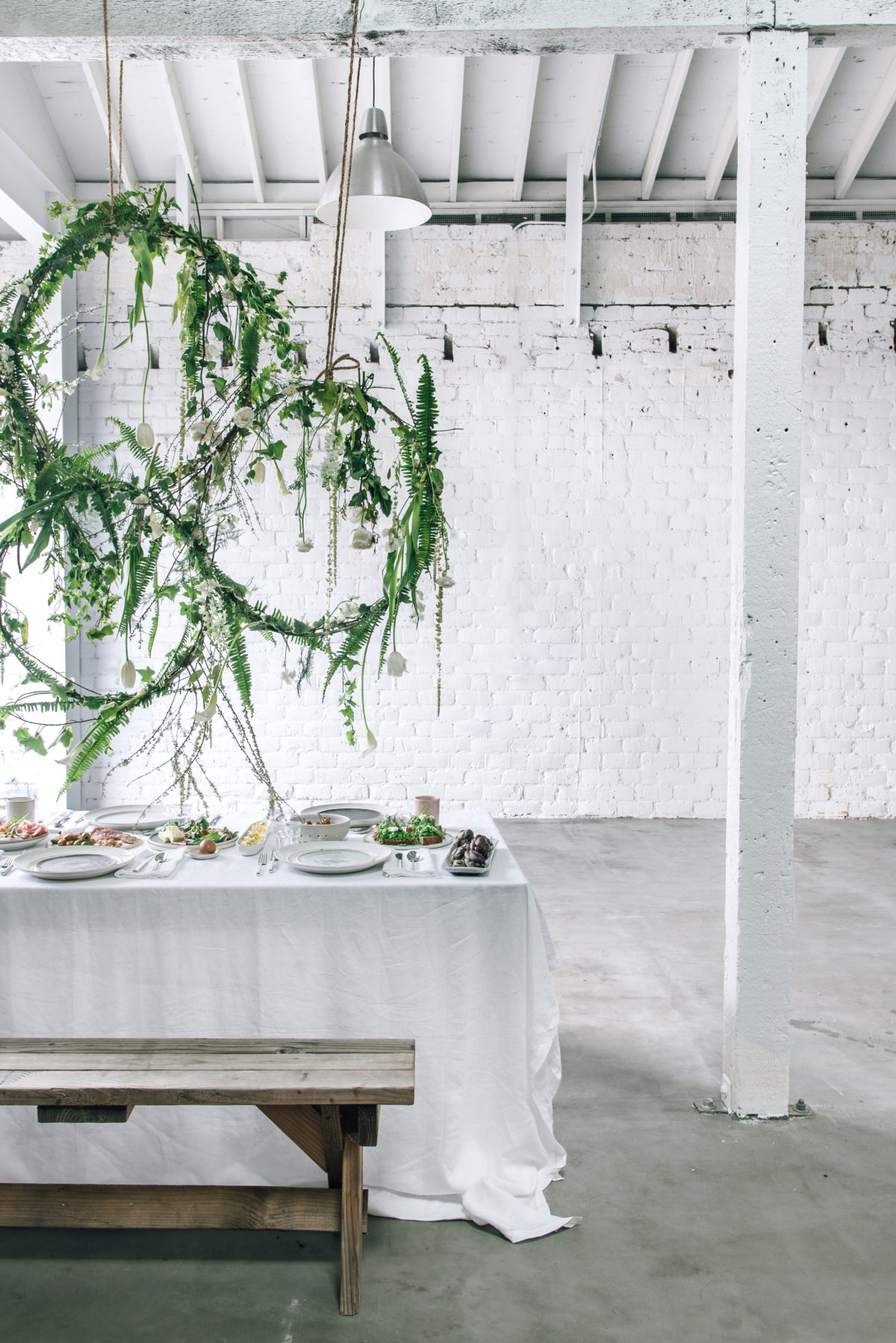 spring table setting and mother's day brunch with floral installation via @citysage