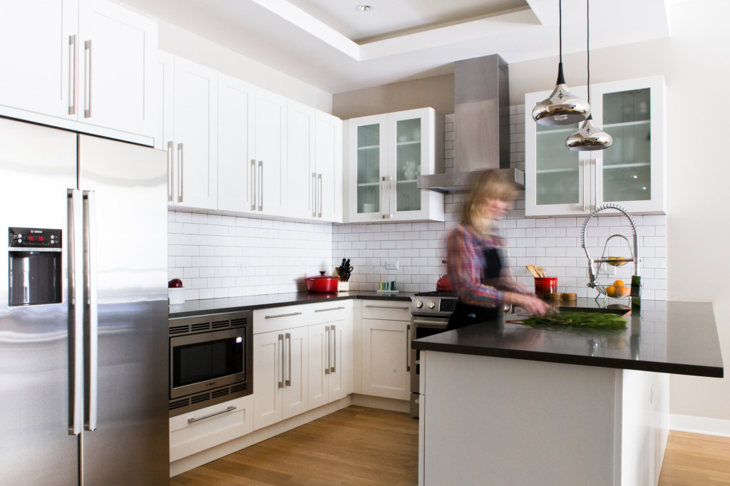 modern white kitchen with subway tile via @citysage