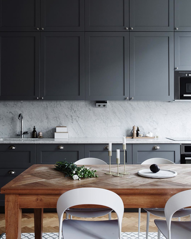 grey kitchen cabinets and marble counters via @citysage