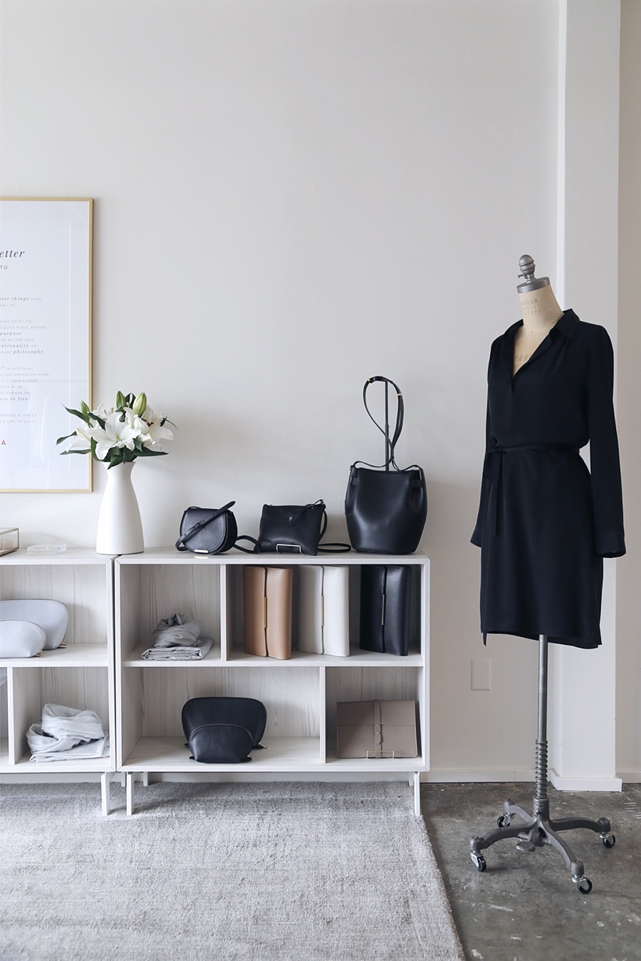 clothing storage + dress form via @citysage