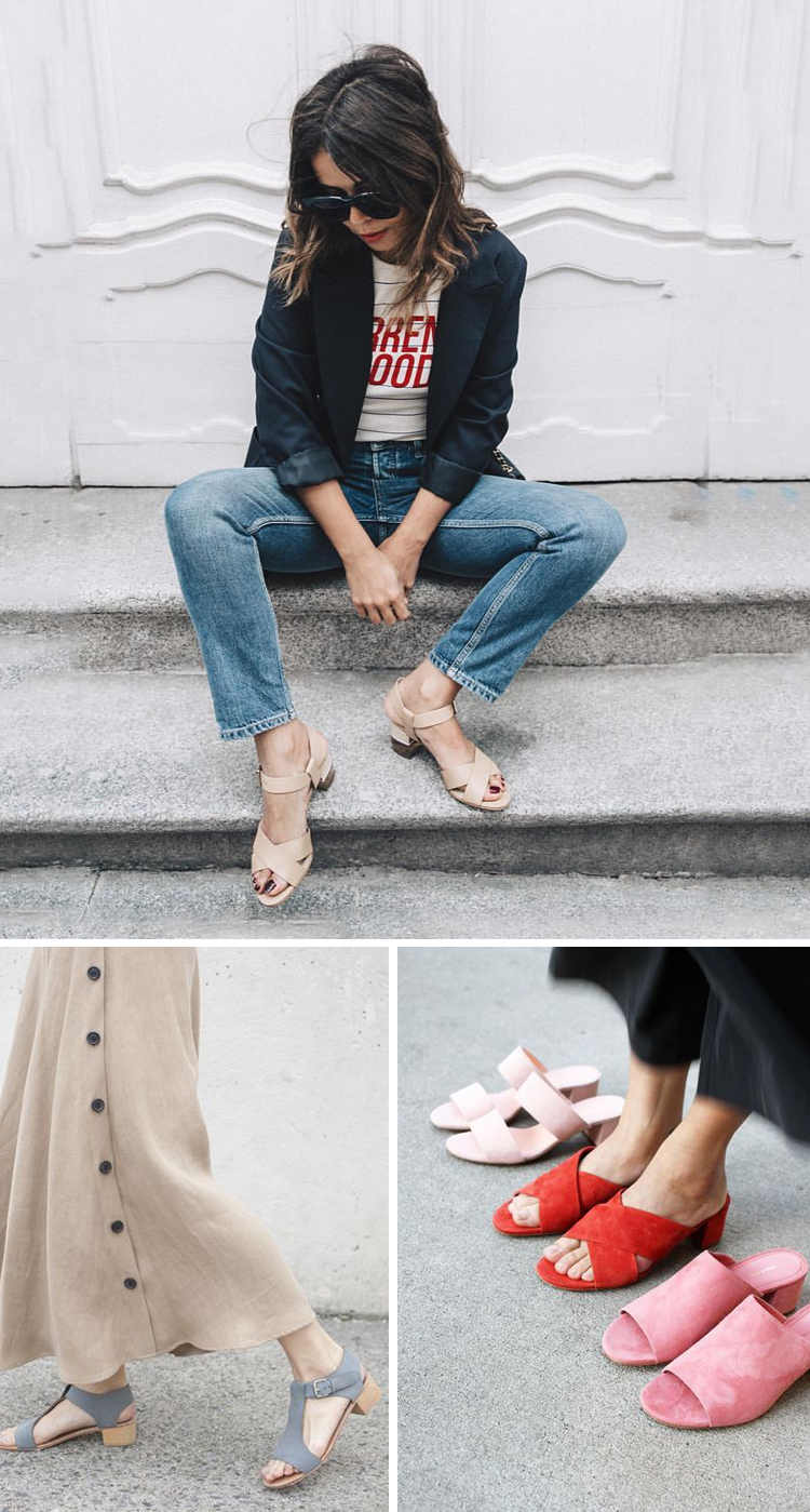 how to wear block heel sandals for summer