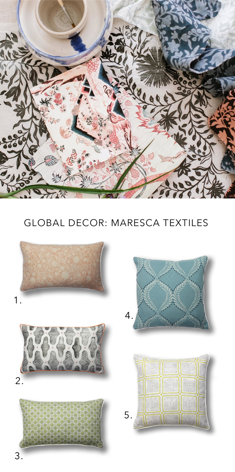 block printed pillows for a global summer decor update via @citysage