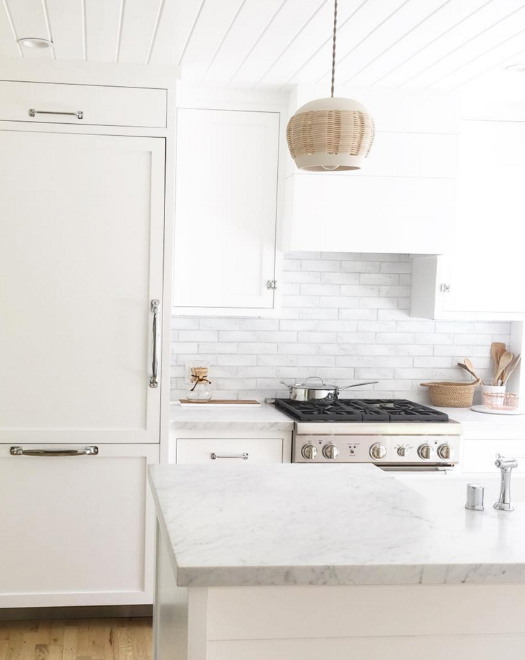 white kitchen with subway tile via @citysage