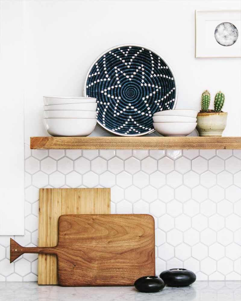 neutral kitchen with hex tile backsplash