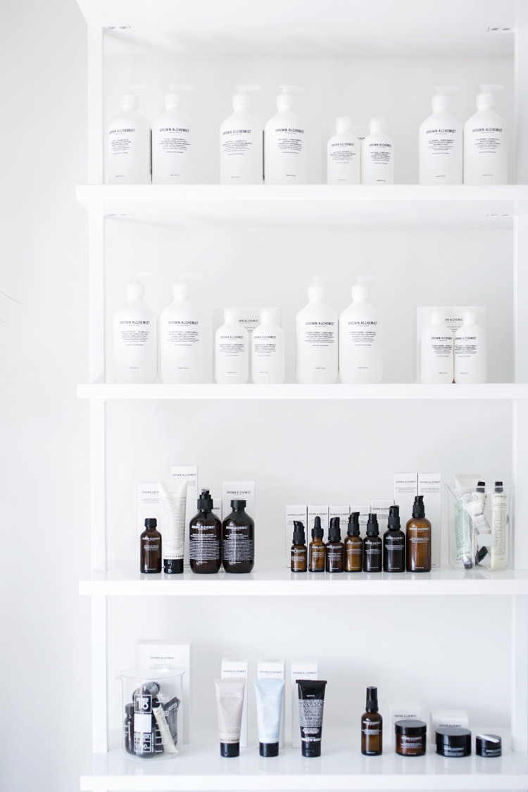 white minimalist storage shelves // anne sage