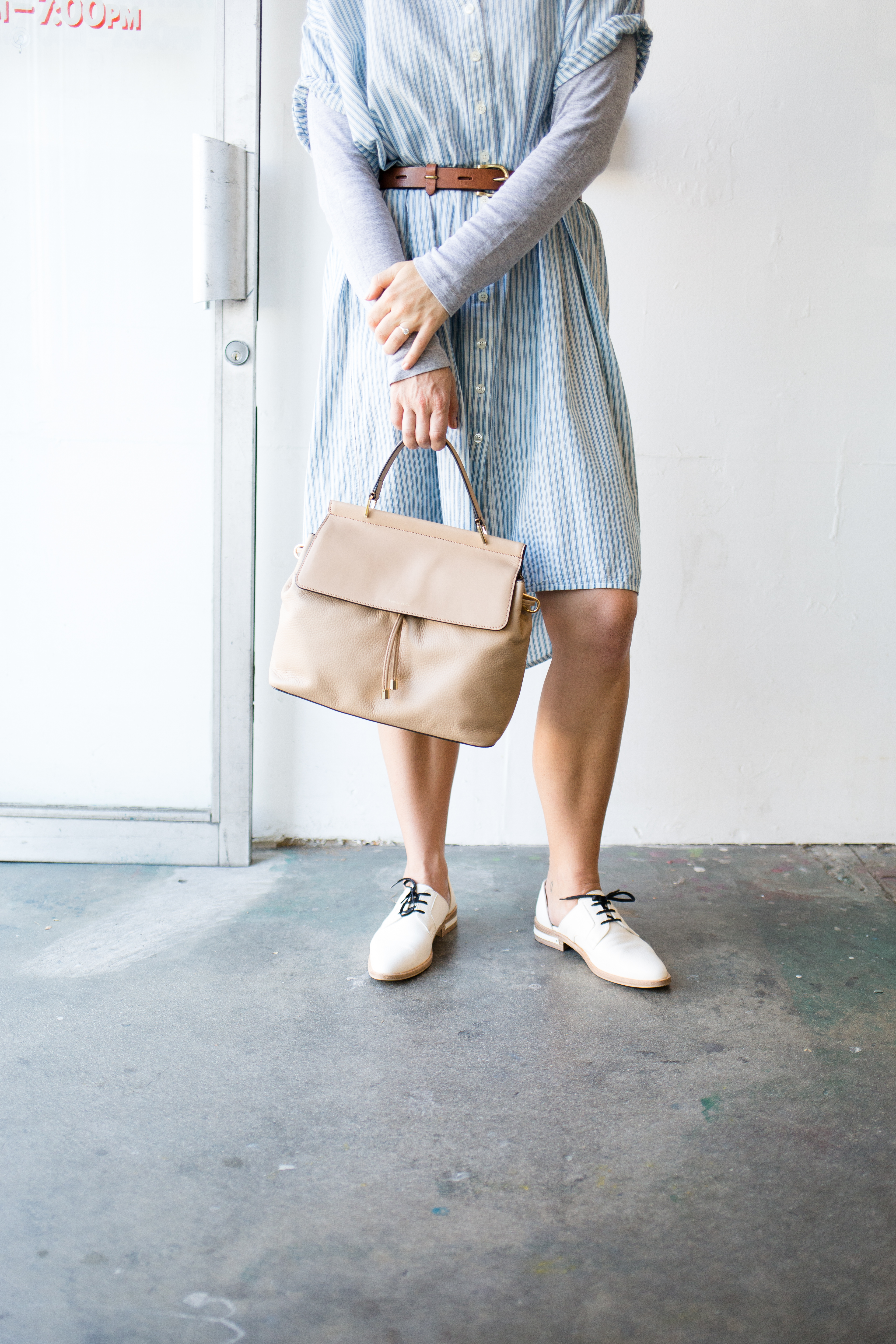 shirt dress and white oxford shoes // anne sage