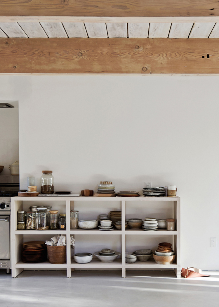 minimalist kitchen storage with an organic rustic style // anne sage