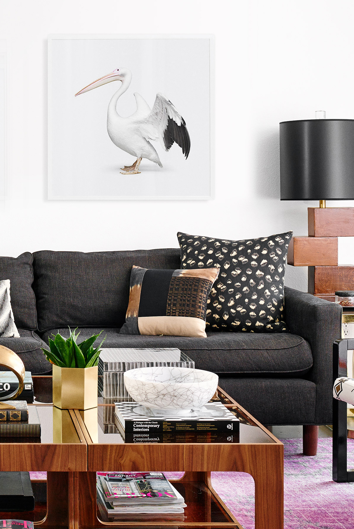 eclectic living room with oversized animal artwork // anne sage