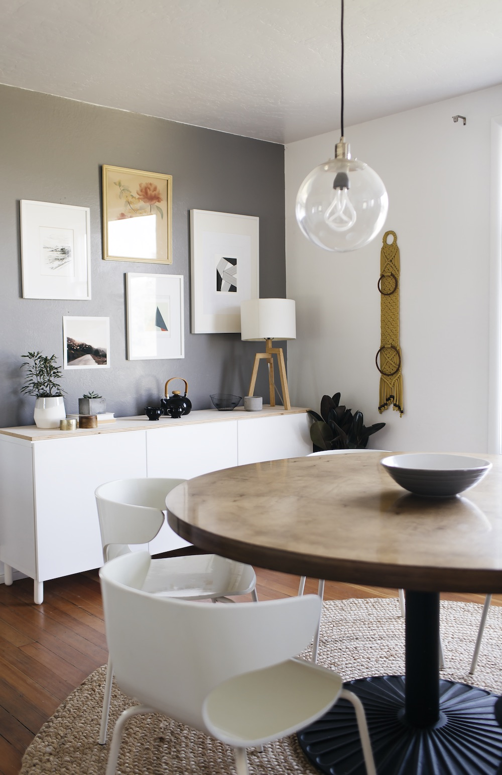 dining room with round table and gallery wall // anne sage