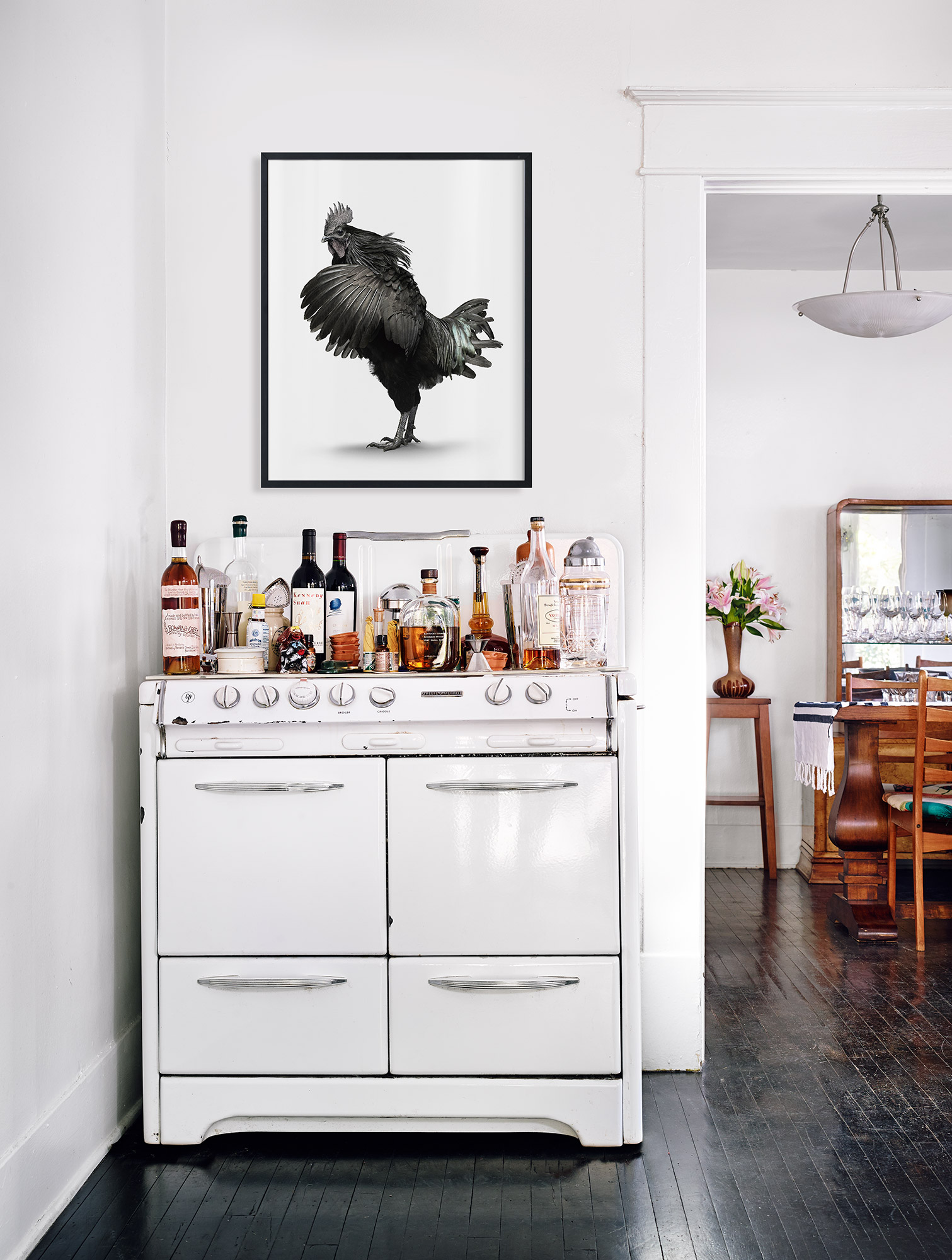 vintage stove as bar and cocktail station // anne sage