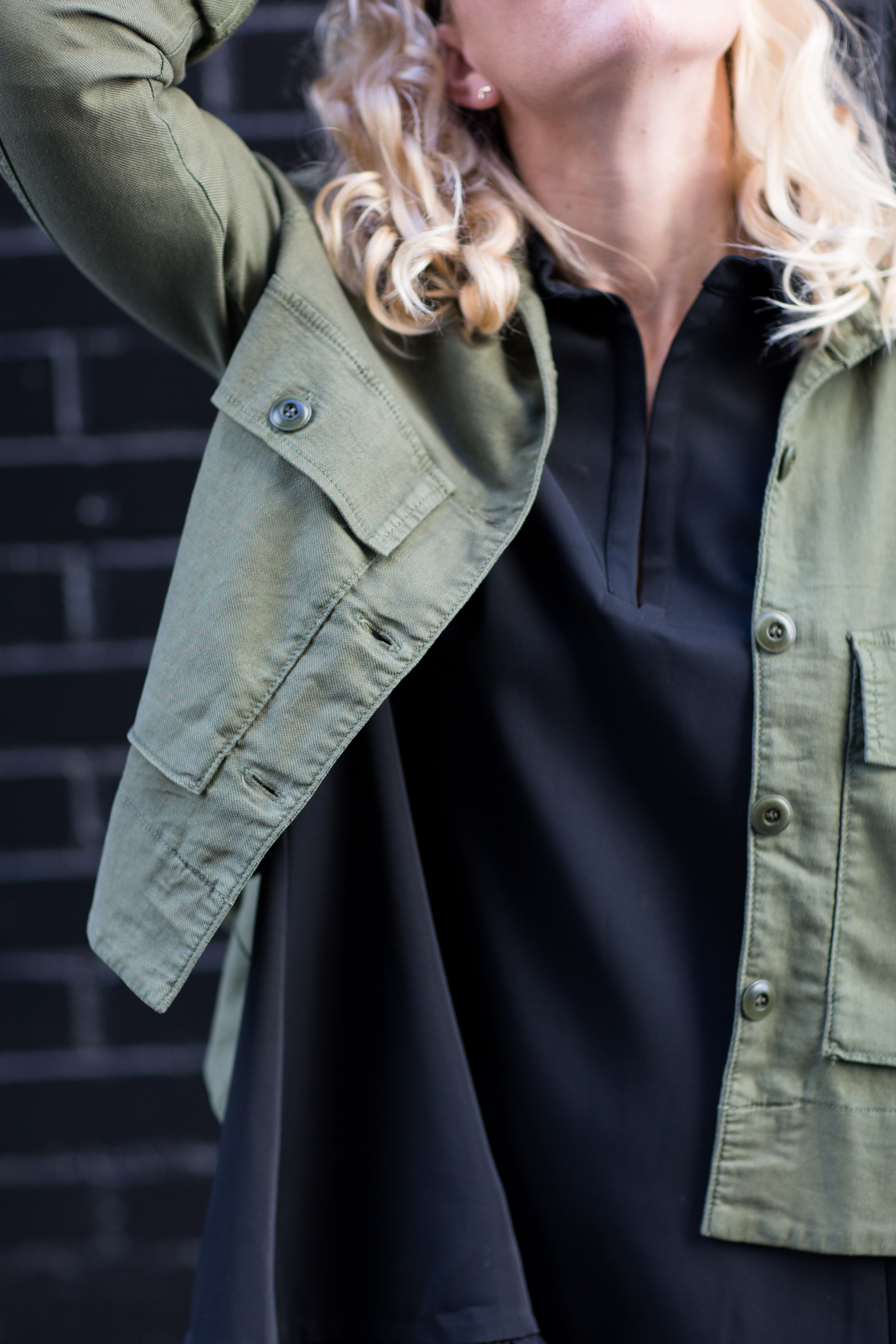 cropped army jacket by the great // anne sage