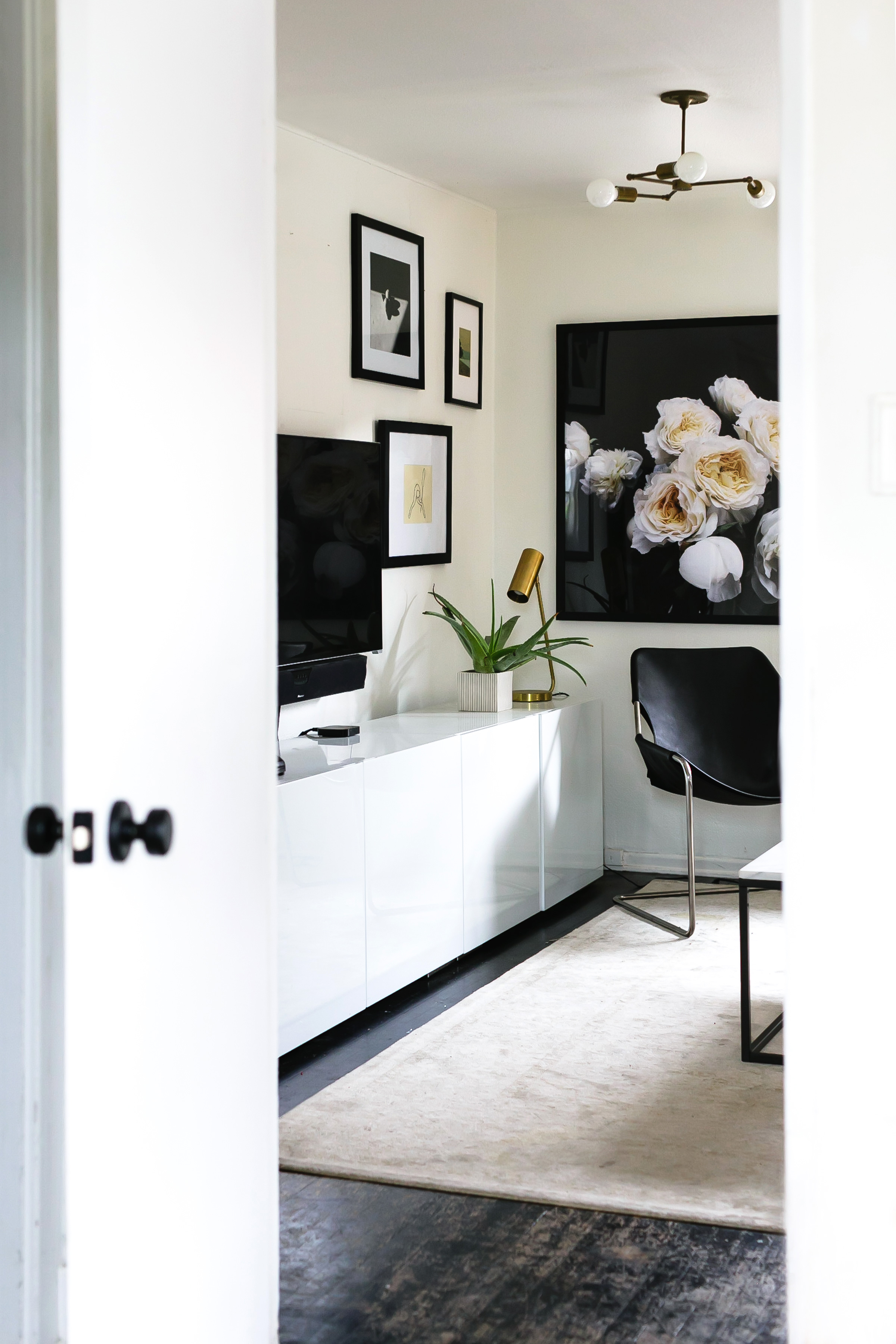white and black living room // anne sage