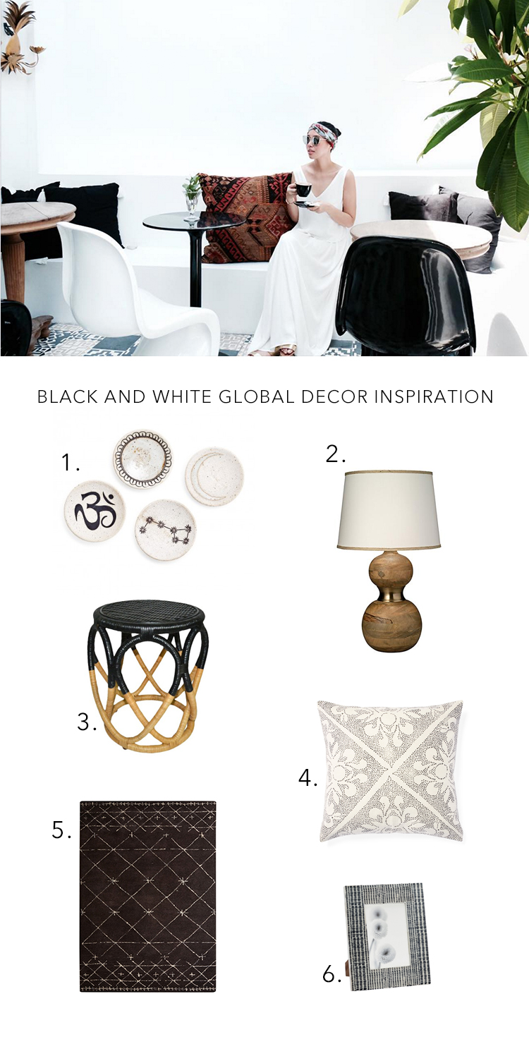 black and white global decor // anne sage