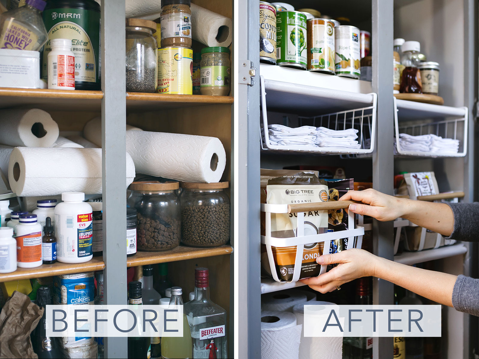 pantry organization makeover before and after // anne sage