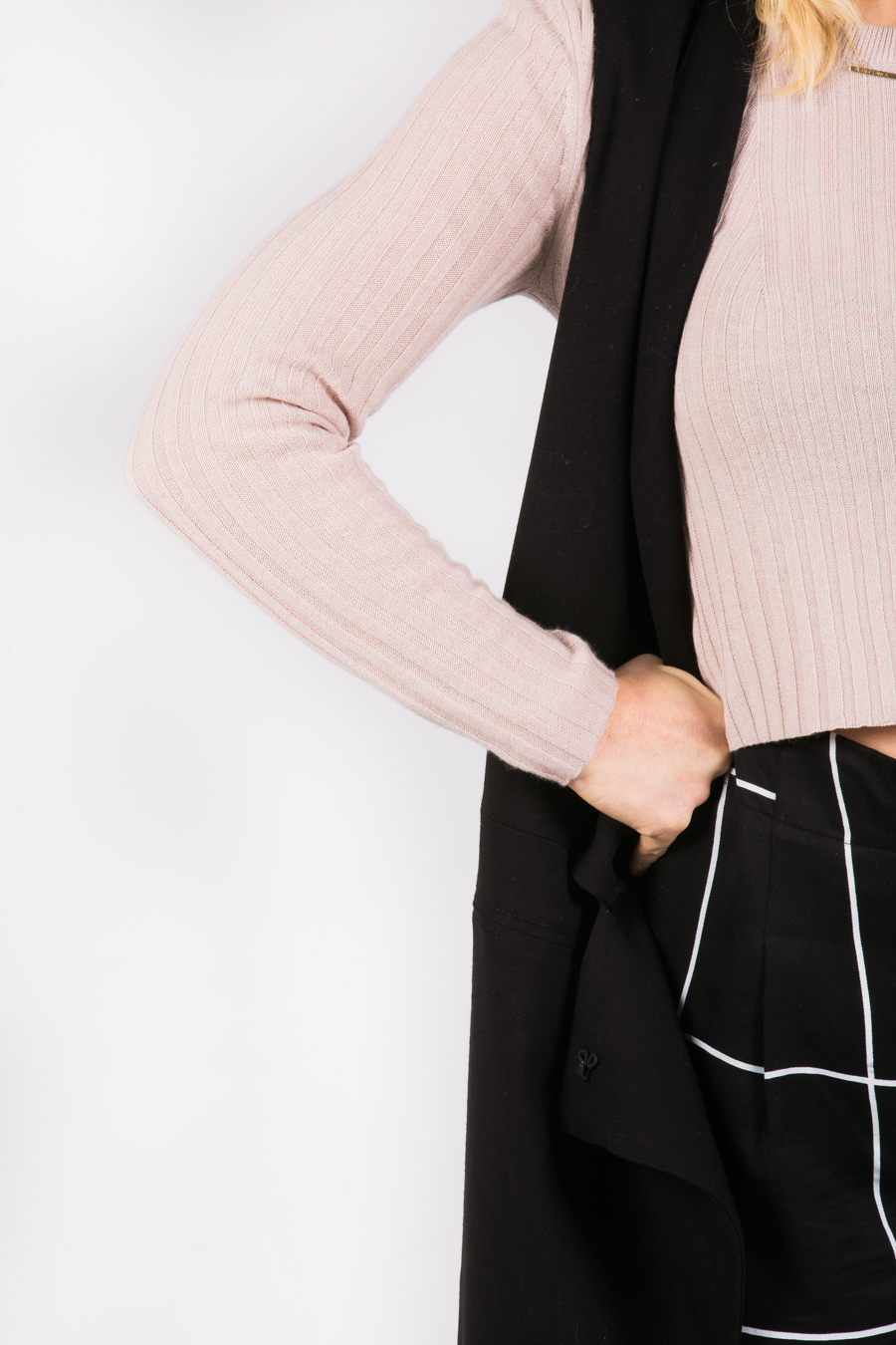 long vest over trousers and cropped sweater // anne sage