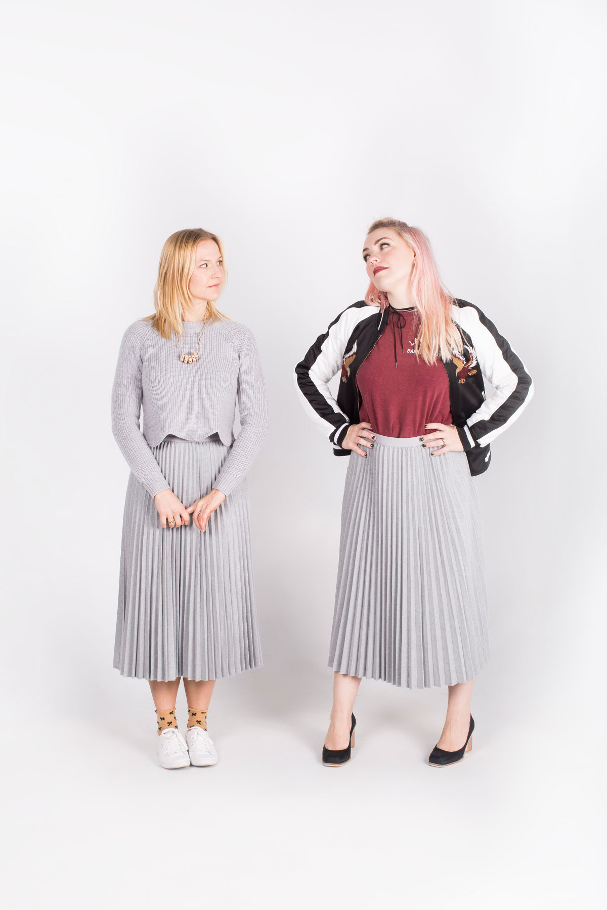 05bdabcaec Shopping Guide: Aritiza Grey Knife Pleat Skirt. On Anne: Aritzia Grey  Cropped Sweater with Scallop Hem. The Wilde Bloem Clay Beaded Necklace.