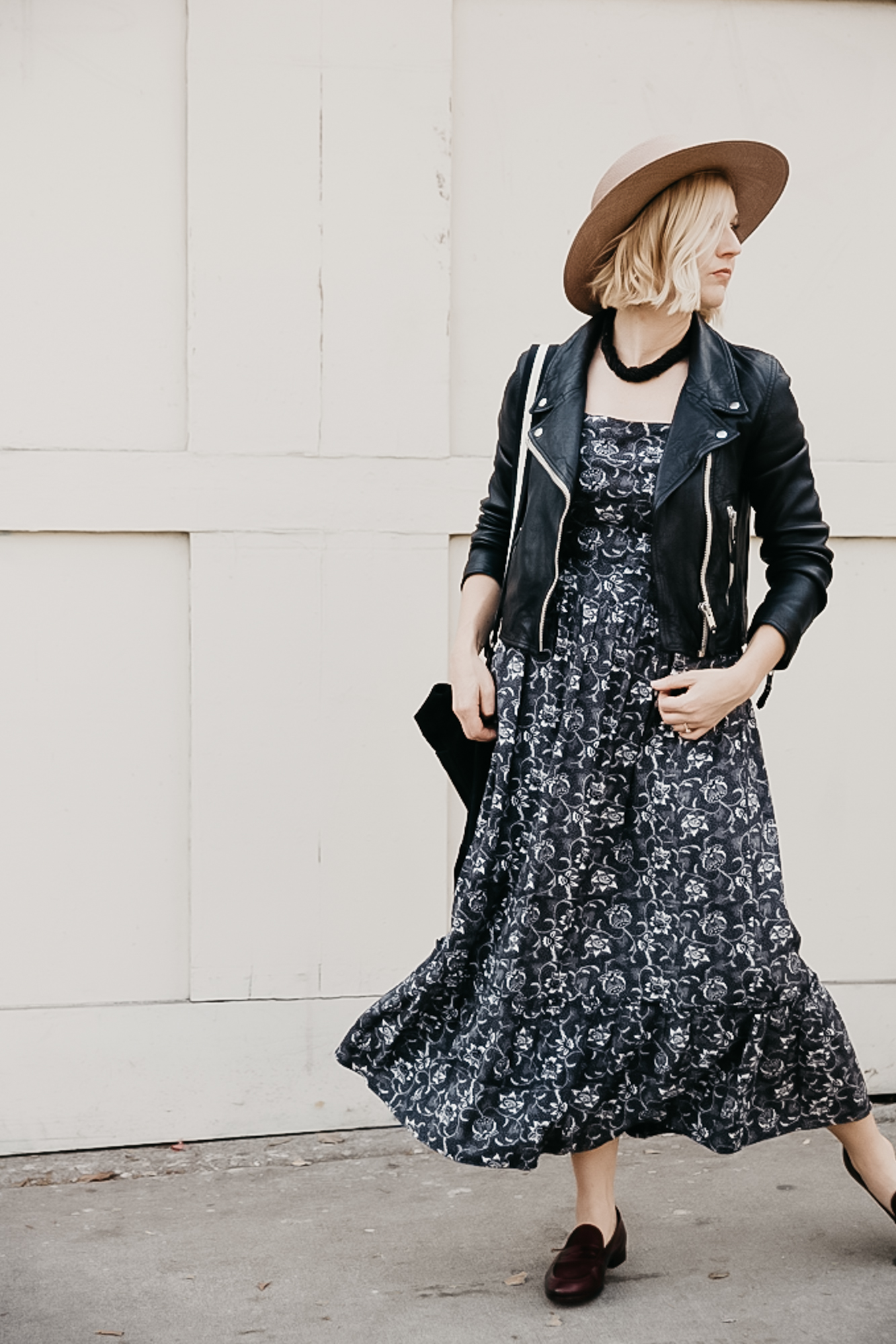Get This Dress And Accessories At Its Fashion Metro In: How To Style A Moody Fall Floral Midi Dress