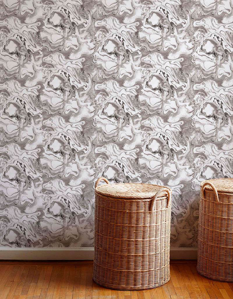 marble wallpaper and basket laundry hampers