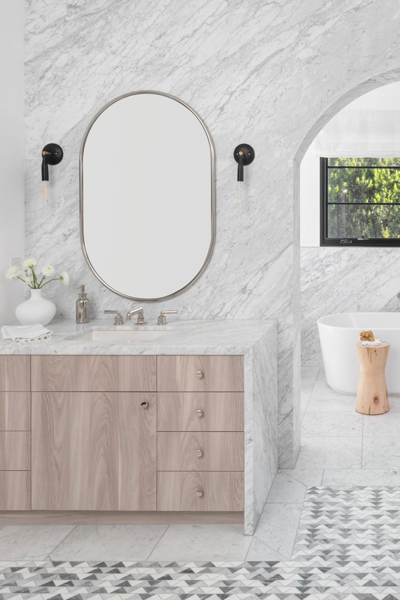 marble bathroom studio lifestyle with oval mirror