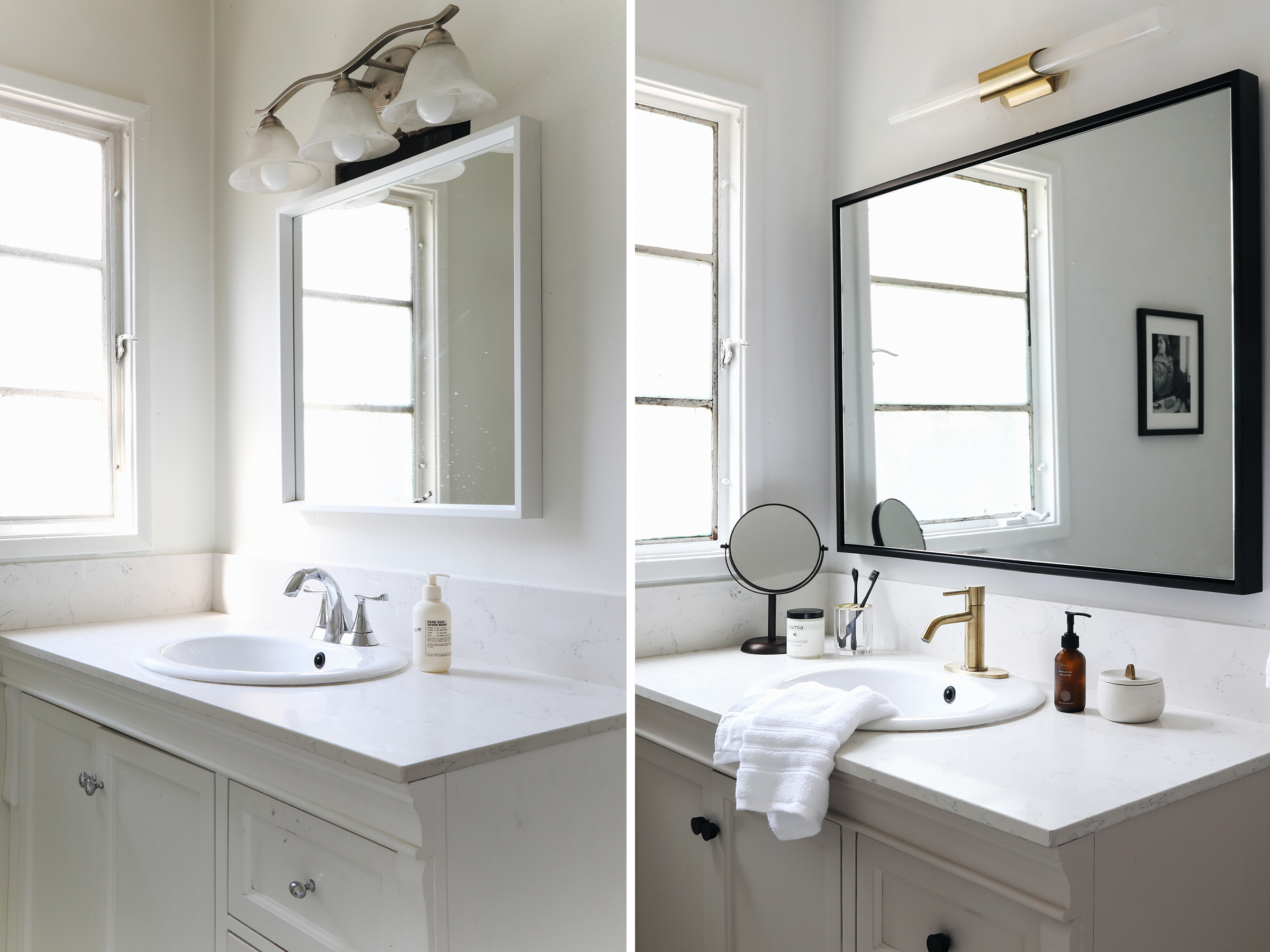 befor and after bathroom makeover with boutique hotel inspiration