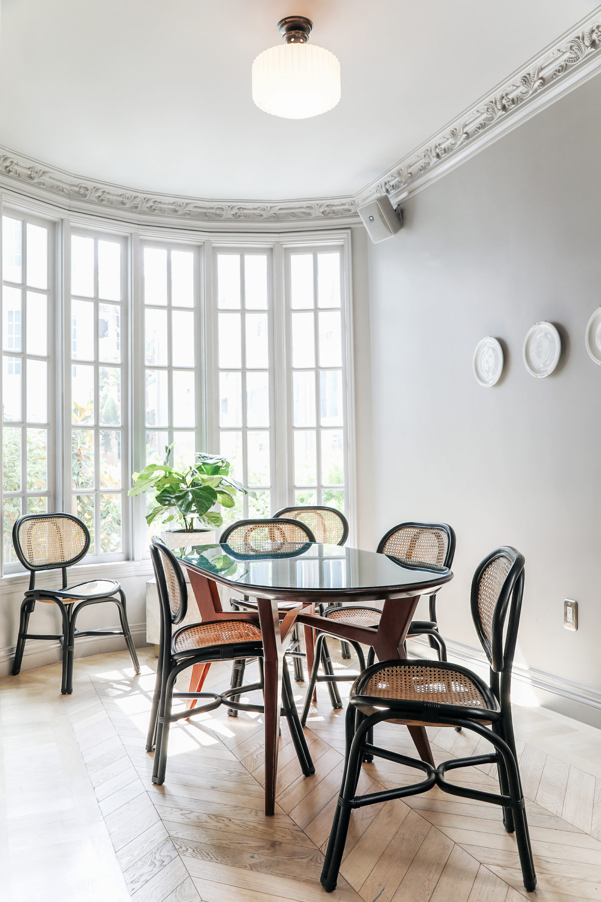 cane dining chairs and french vintage dining room