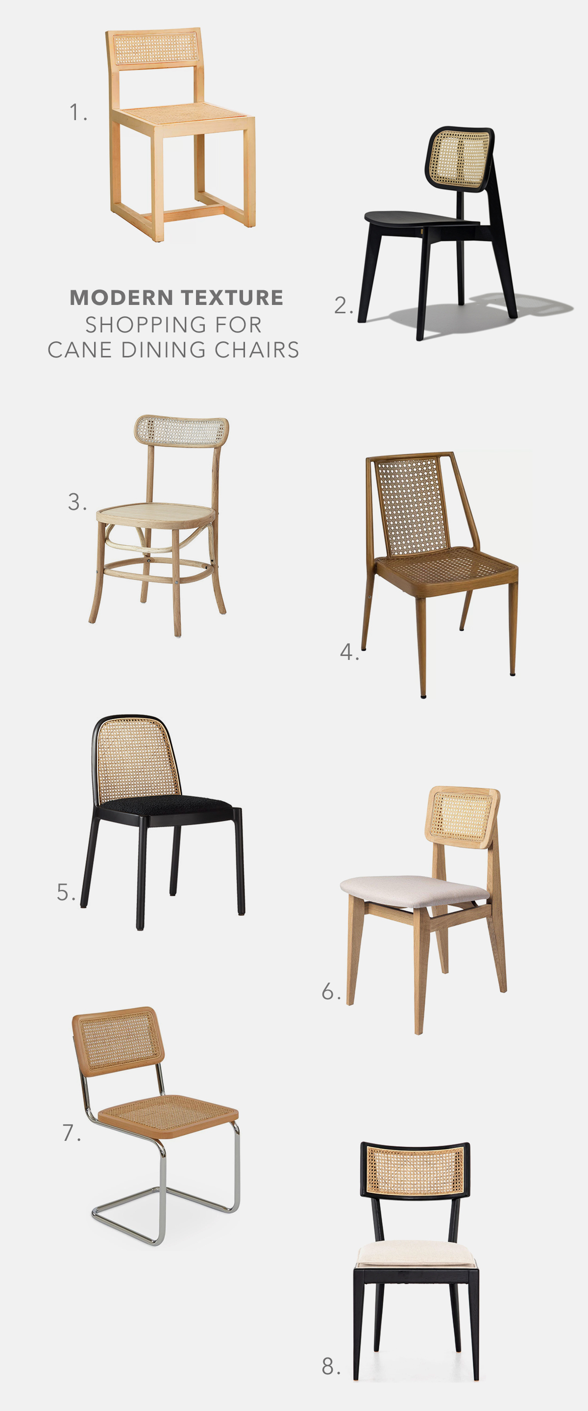 modern dining chairs made from woven cane